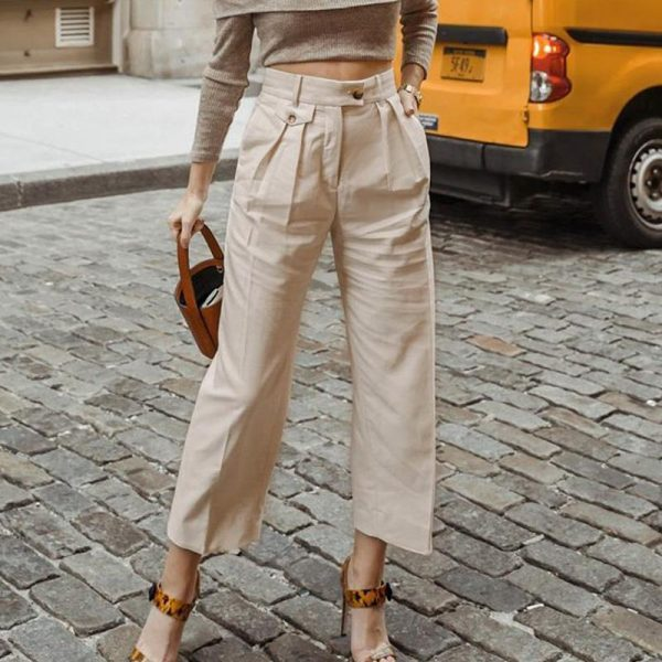 Simplee New Fashion Women Casual Pant Casual Loose Cropped Trousers Jogger Woman Elegant Spring Autumn Solid Straight Pants 2020