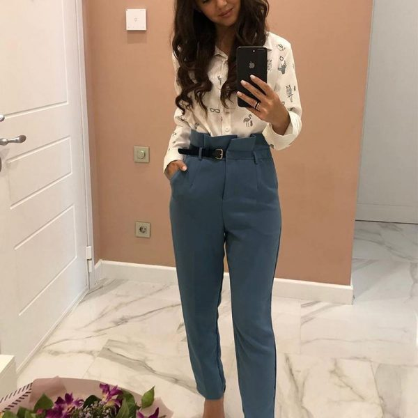 Conmoto Women Fashion High Waist Pencil Pants 2019 Autumn Winter Female Casual Belt Patchwork Long Pants Ladies Blazer Trouser