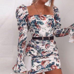 Bohemian Puff Sleeve Short Dress