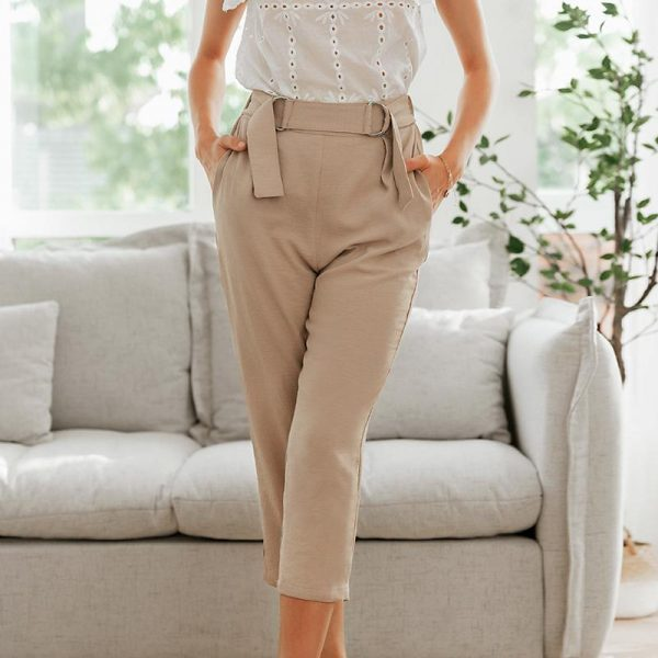 Simplee Pleated Polyester Office Lady Pants Mid Waist Casual Cropped Trousers Women Decorative Belt Female Pencil Pants