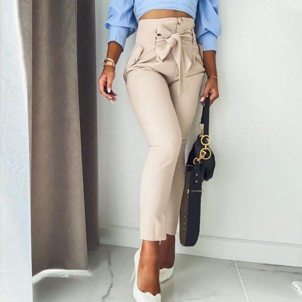 Simplee Solid Casual Harem Pants Female Trousers High Waist Office Ladies Adjustable Waist Belt Pants Loose Cropped Women Pants