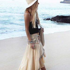 White bohemian skirt