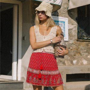 Red Bohemian Short Skirt