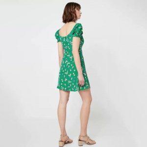 Green boho dress