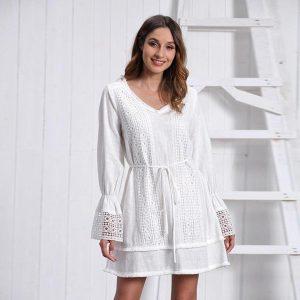 Bohemian style white short dress