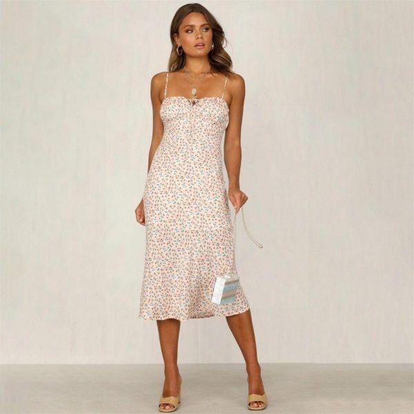 Beige bohemian maxi dress