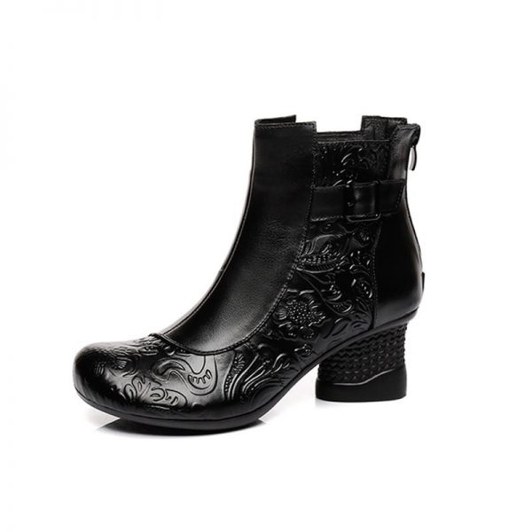 Black Boots with Flower Inlay