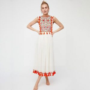 Bohemian white and red dress