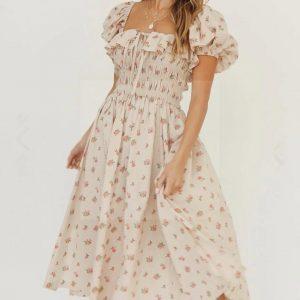 Beige boho dress