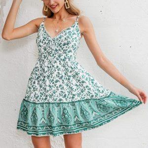 Bohemian green short dress