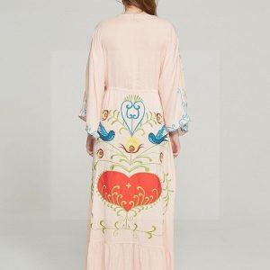 Bohemian chic long dress in beige