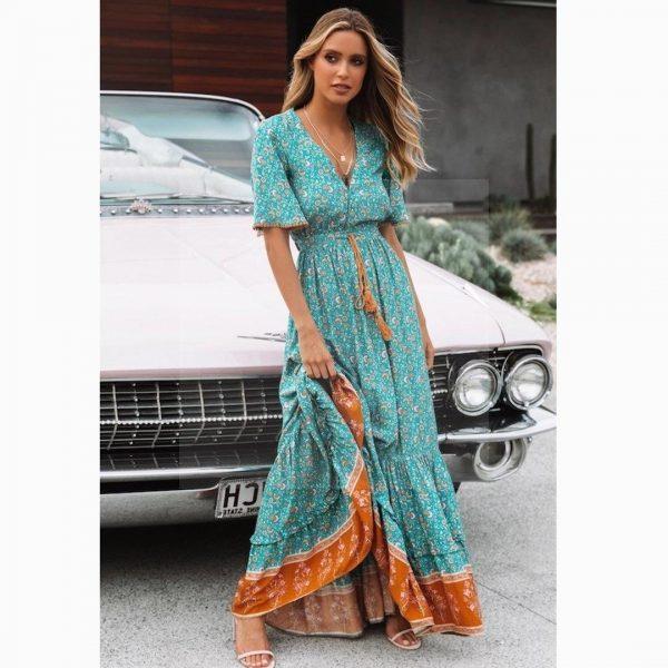 Bohemian v-neck maxi dress